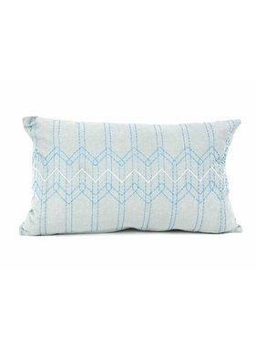 pt, Sierkussen / sierkussens Stitched Flow muisgrijs en teal blauw