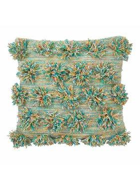 dutch decor sierkussens & plaids Sierkussen / sierkussens  Poms 45x45 cm aqua