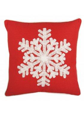 Clayre & Eef Sierkussen / sierkussens Snowflake rood 45 x 45 cm
