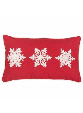 Clayre & Eef Sierkussen / sierkussens Snowflakes rood 30 x 50 cm