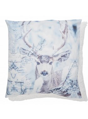 Clayre & Eef Kussenhoes Snow deer 45 x 45 cm