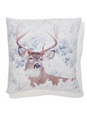 Clayre & Eef Kussenhoes Snow deer 2 45 x 45 cm