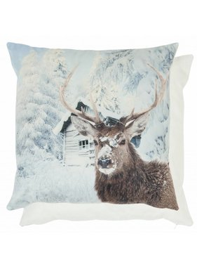 Clayre & Eef Kussenhoes Deer Snowtree 45 x 45 cm