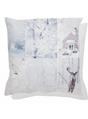 Clayre & Eef Kussenhoes Let it Snow 45 x 45 cm