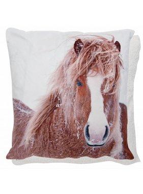Clayre & Eef Kussenhoes Paard in sneeuw 45 x 45 cm