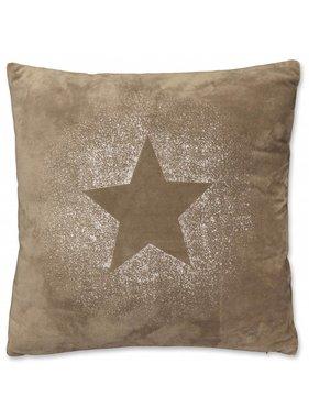 Kerst sierkussen 45 x45cm Glitter Star taupe