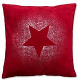 Unique Living sierkussens & plaids Kerst sierkussen 45 x45cm Glitter Star rood