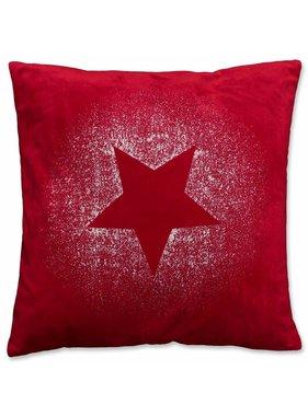 Kerst sierkussen 45 x45cm Glitter Star rood