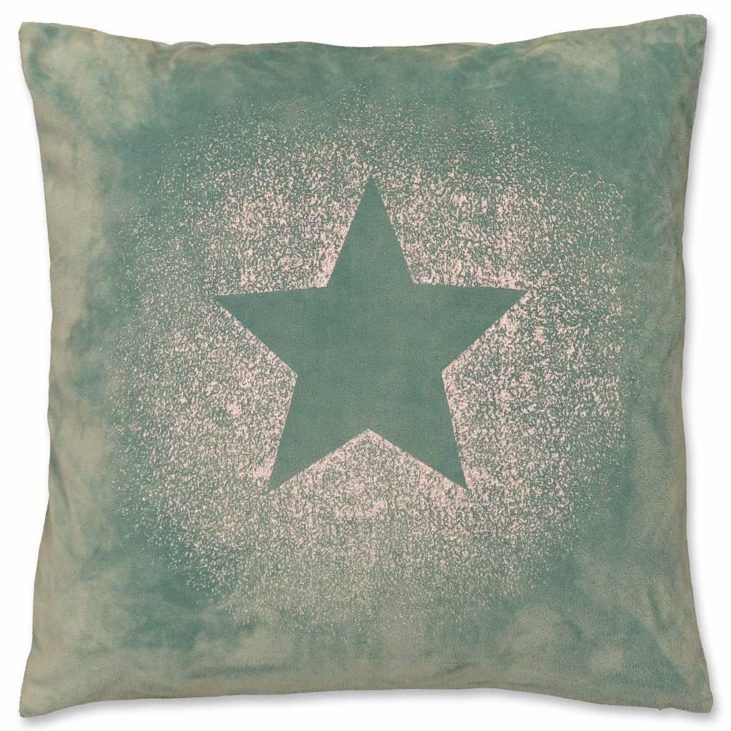 Kerst sierkussen 45 x45cm Glitter Star blauw