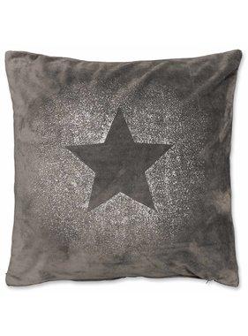 Unique Living sierkussens & plaids Kerst sierkussen 45 x45cm Glitter Star donker grijs
