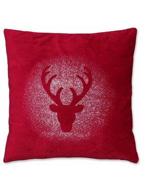 Kerst sierkussen 45 x45cm Glitter Rudolph rood