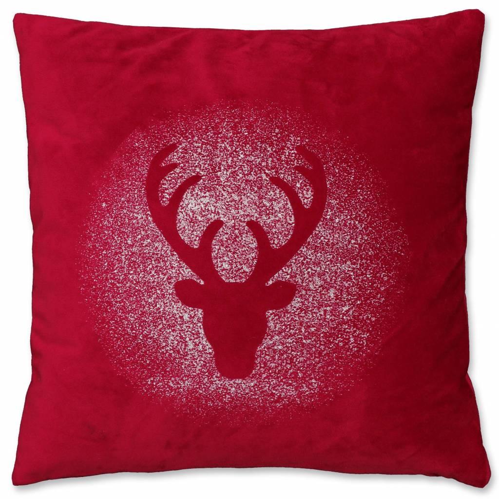 Unique Living sierkussens & plaids Kerst sierkussen 45 x45cm Glitter Rudolph rood