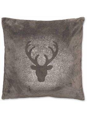 Kerst sierkussen 45 x45cm Glitter Rudolph donker grijs