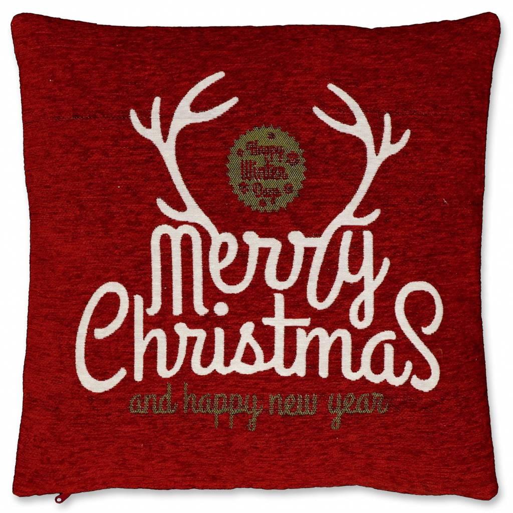 Unique Living sierkussens & plaids Kerst sierkussen 45 x45cm Merry Christmas rood