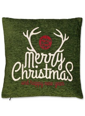 Unique Living sierkussens & plaids Kerst sierkussen 45 x45cm Merry Christmas groen
