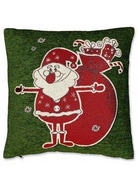Unique Living sierkussens & plaids Kerst sierkussen 45 x45cm Kerstman groen