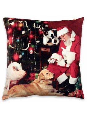 Unique Living sierkussens & plaids Kerst sierkussen 45 x45cm Kerstman en hond