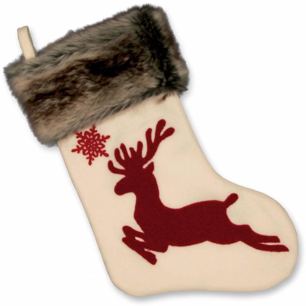 Unique Living sierkussens & plaids Kerstsok Rudolph wit