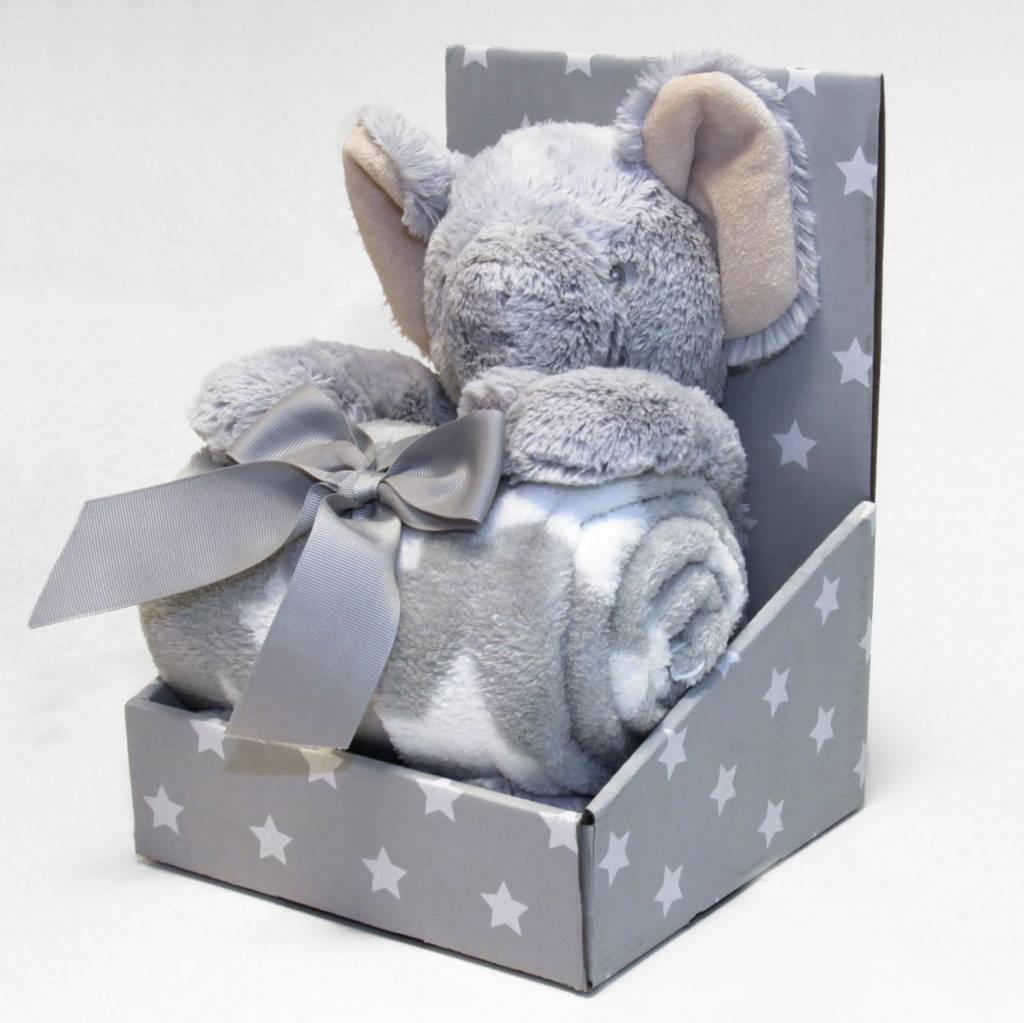 Plaid Olifant grijs knuffel