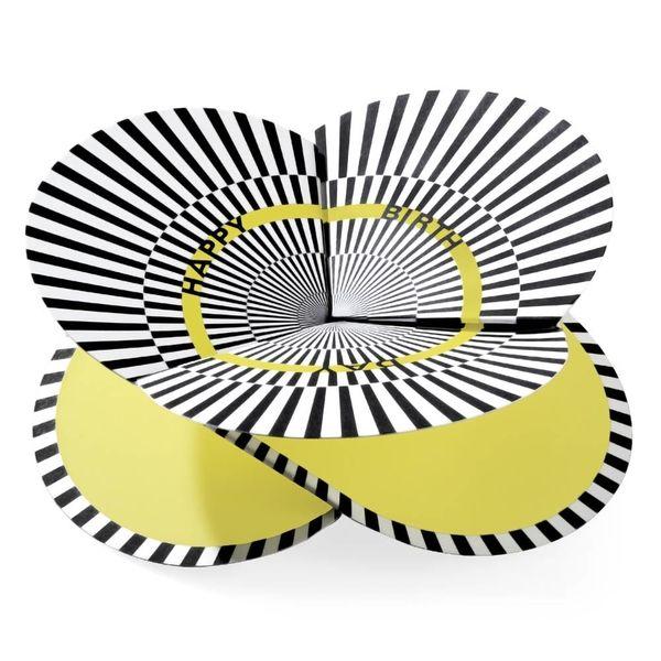 faltmanufakt faltkarte | optical gelb, happy birthday – design kirstin hoevermann