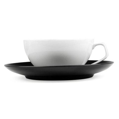 tac tasse weiß mit untertasse 2 stück | schwarz