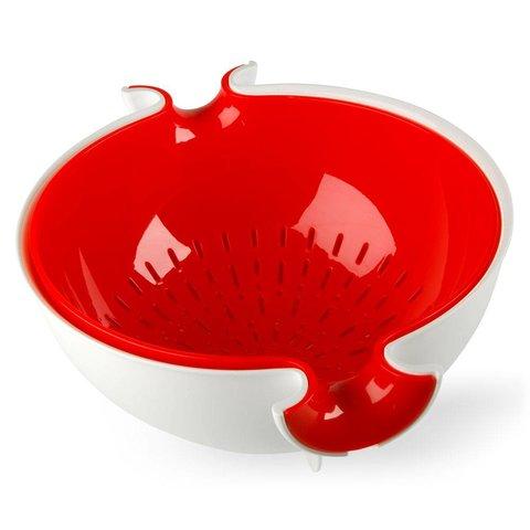 sieb mit schüssel | weiss-rot