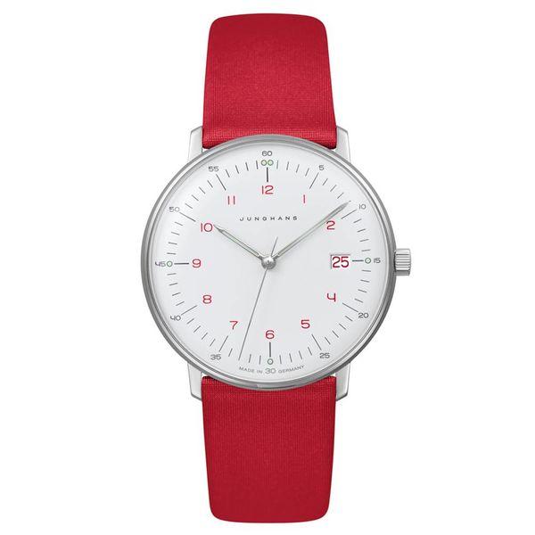 junghans armbanduhr max bill   33 mm, quarzuhrwerk, zahlenblatt rot - redesign junghans