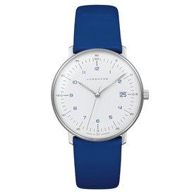junghans armbanduhr max bill | 33 mm, quarzuhrwerk, zahlenblatt blau