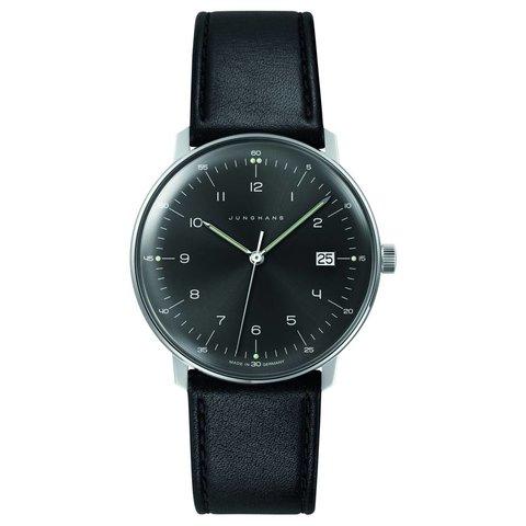 armbanduhr max bill | 38 mm, quarzuhrwerk, zahlenblatt grauschwarz