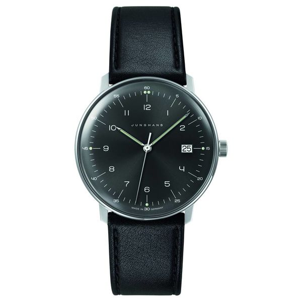 junghans armbanduhr max bill | 38 mm, quarzuhrwerk, zahlenblatt grauschwarz