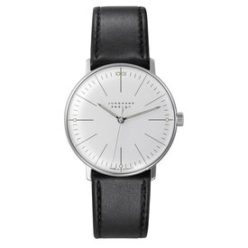 junghans armbanduhr max bill | handaufzug, strichblatt weiß