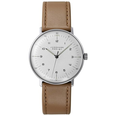 armbanduhr max bill | ø 34 mm, handaufzug, zahlenblatt weiß