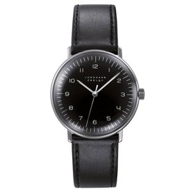 junghans armbanduhr max bill   34 mm, handaufzug, zahlenblatt schwarz