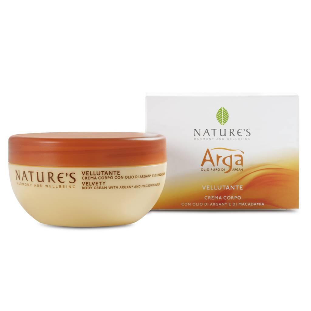 Nature's Fluweelzachte bodycrème met Argan olie en macadamia olie