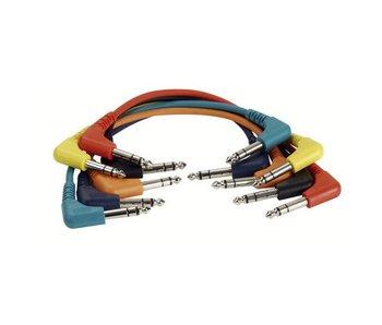 DAP Audio Patchkabel 30cm Gebalanceerd  -  Connectoren Haaks Zes Kleuren Set
