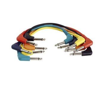 DAP Audio Patchkabel 30cm Ongebelanceerd  - Connectoren Haaks Zes Kleuren Set