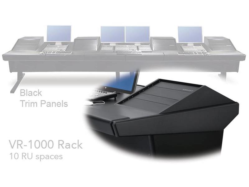 "Argosy Universal 90V Series w/ 46"" Desk Inserts, 2)VR1000 Racks & Black End Panels"