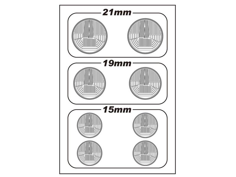 WRAP-UP Next 0010-01 - REAL 3D Head Light Decal Circle Type-A (15/19/21mm) with Mask Sheet