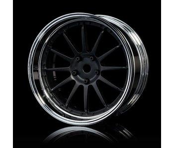 MST 21 Wheel Set - Adj. Offset (4) / Flat Black-Silver