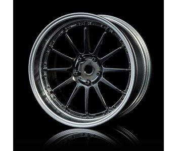 MST 21 Wheel Set - Adj. Offset (4) / Silver Black-Flat Silver