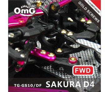 T.GAMES Golden Screw Kit for Sakura D4 (RWD Chassis)