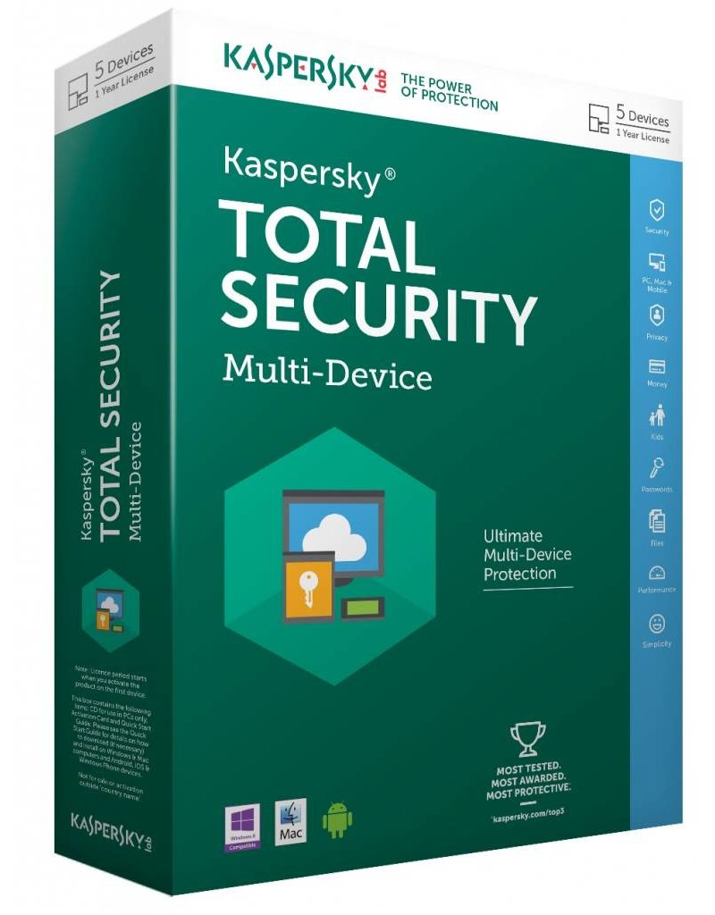 Kaspersky Kaspersky Total Security Multi-Device 2016 1-PC 1 jaar
