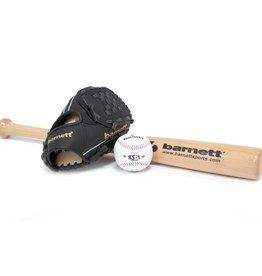barnett BGBW-3 Zestaw baseballowy dla początkujących,junior, drewniany kij, piłka, rękawica (BB-W 24, JL-95, BS-1)
