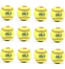 "barnett OSL-2 Turniejowa piłka Softballowa, rozmiar 12"", biała,12 sztuk, 12 sztuk"