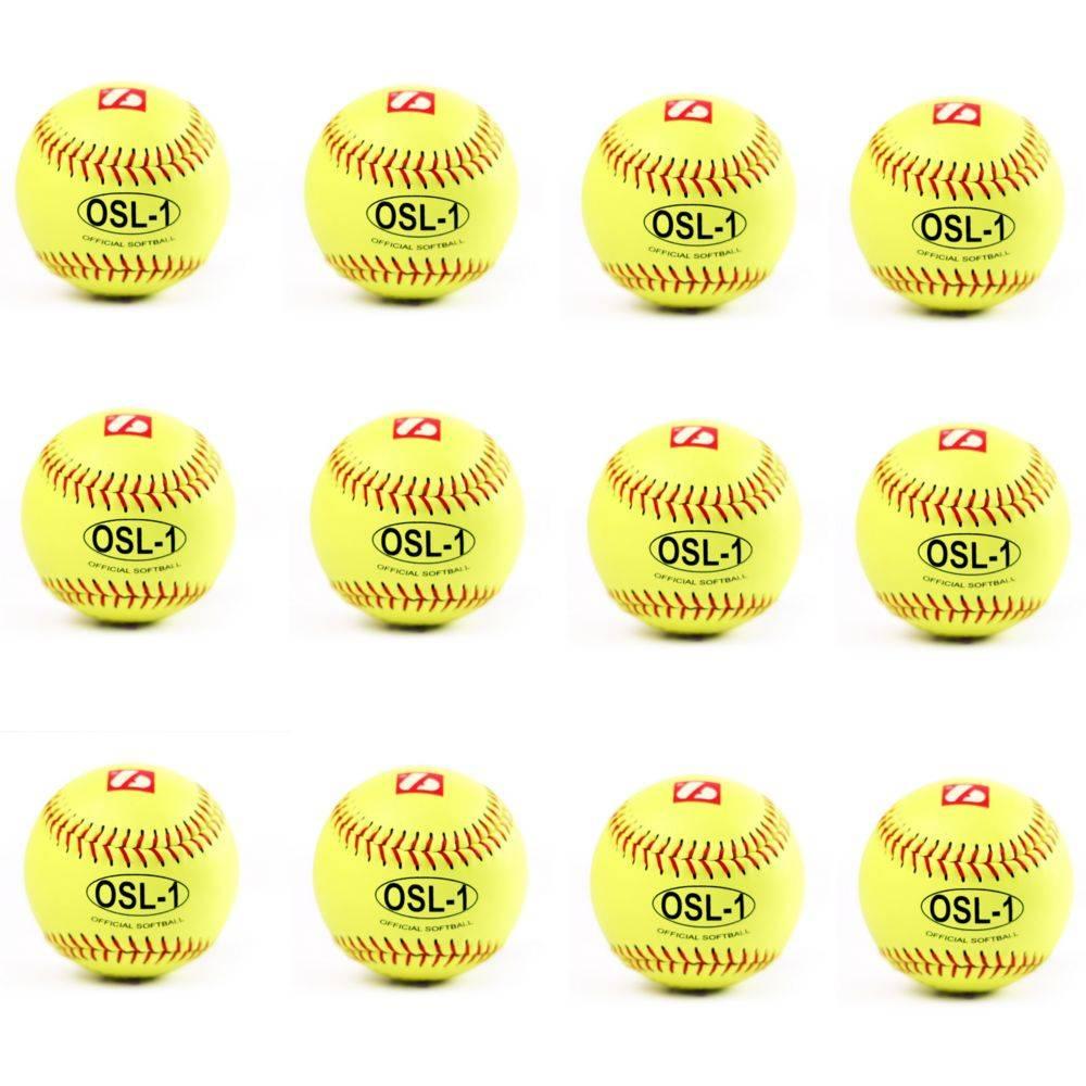 "barnett OSL-1 High competition softball, size 12"", yellow, 1 dozen"