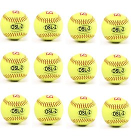 "barnett OSL-2 Competition softball, size 12"", yellow, 1 dozen"