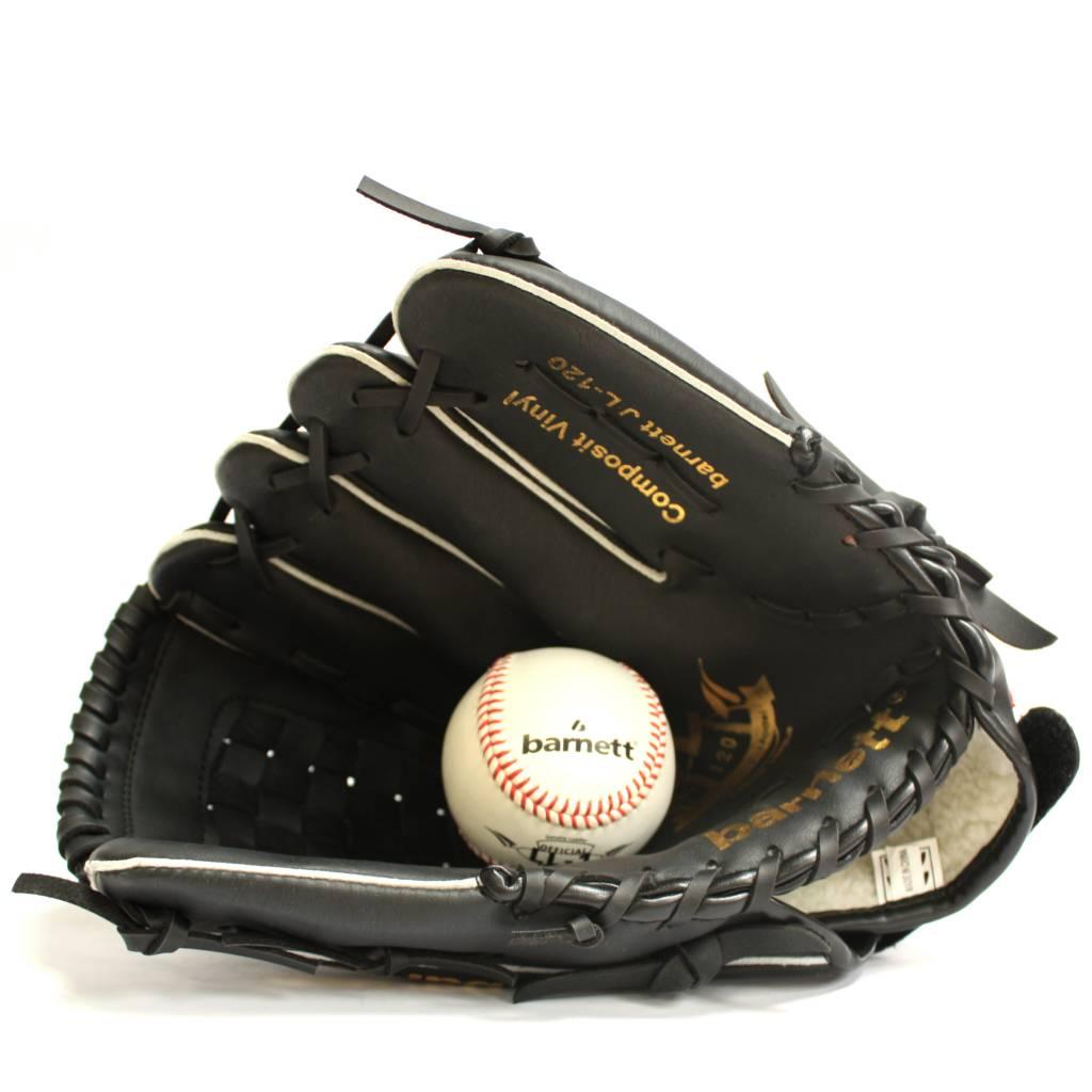 barnett JL-120 Vinyl baseball glove, Outfield, size 12', Black
