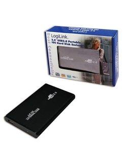 Logilink 2.5i IDE behuizing, USB2.0, Aluminium Zwart UA0040B