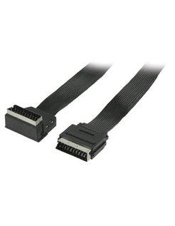 Valueline platte SCART kabel SCART mannelijk - SCART mannelijk 90° gehoekt 2,00 m zwart