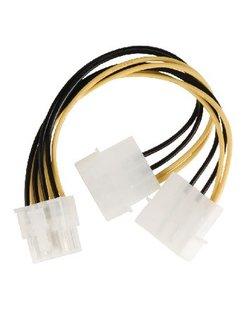 Valueline interne stroom splitterkabel EPS 8-pins - 2x Molex mannelijk 0,15m veelkleurig
